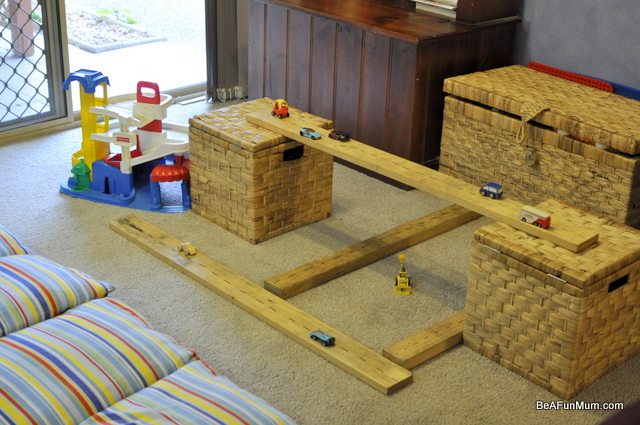 imaginative play scene -- wood roads
