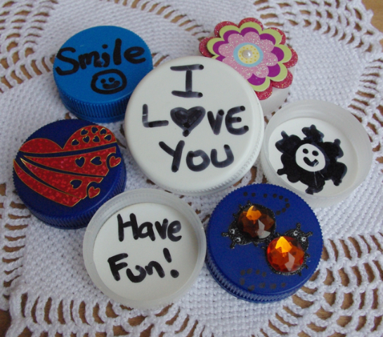 milk bottle lid craft -- lunch box happy buttons