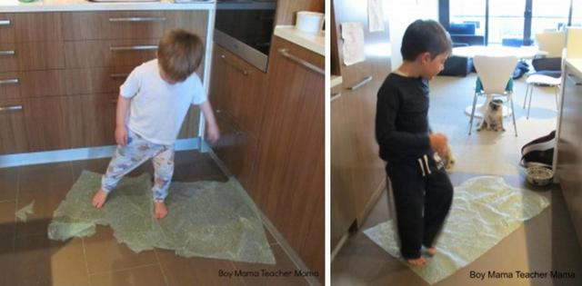 ACTIVITIES FOR BOYS -- JUMPING ON BUBBLE WRAP