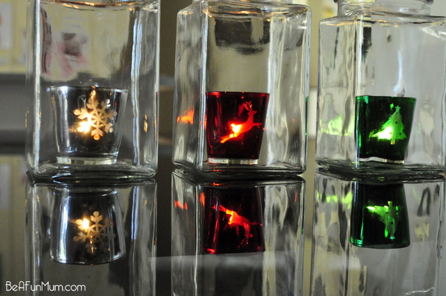 Christmas decorating -- Tea light candles in a jar -- table