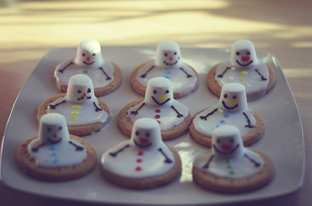 christmas food -- melted snowman biscuits