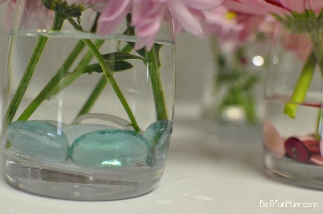 flowers and decorative stones