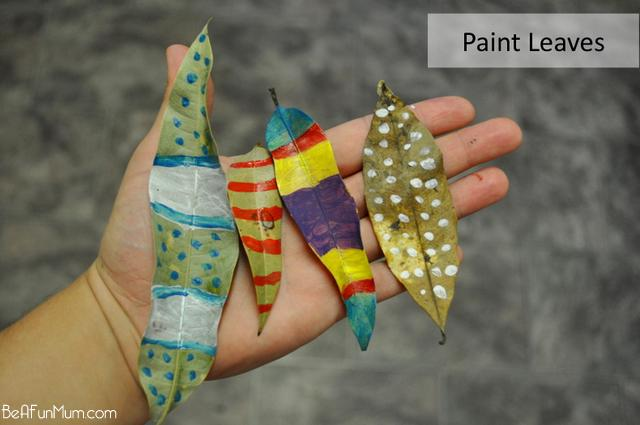 autumn activity for kids paint leaves