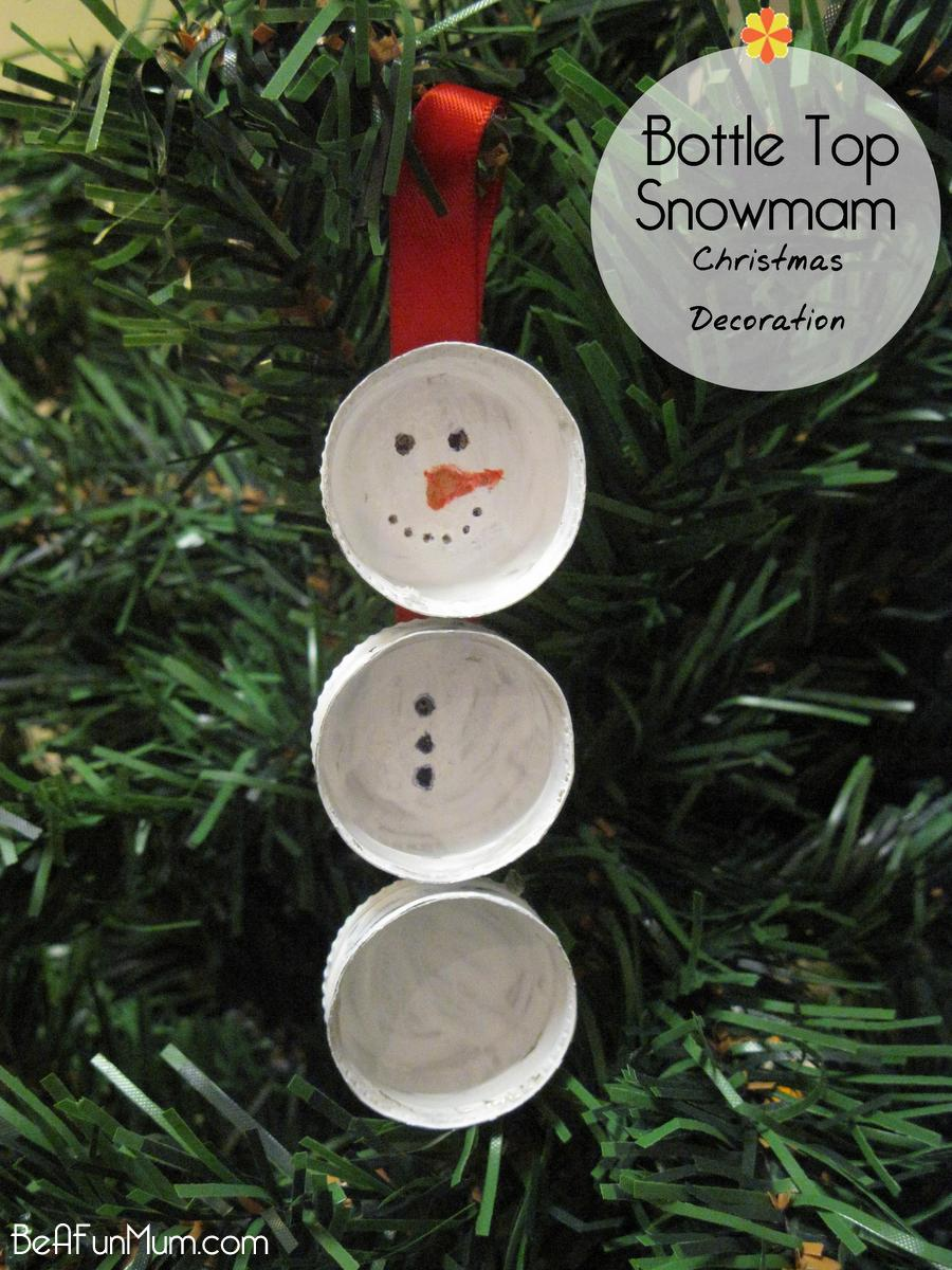 bottle top snowman - handmade Christmas Decoration - beafunmum.com