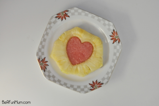 Valentine's Day Food - cute heart pineapple and watermelon puzzle