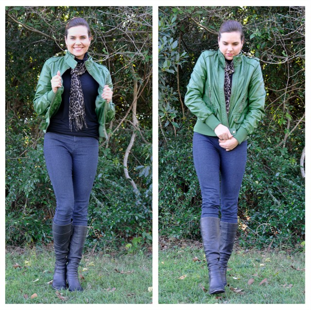 Jeans and green jacket