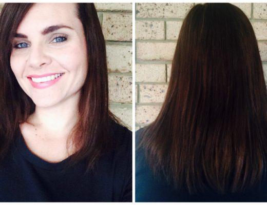 Hair cut and colour - dark golden brown - mid length