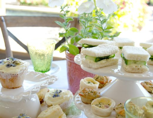 Pansy Cupcake high tea setting