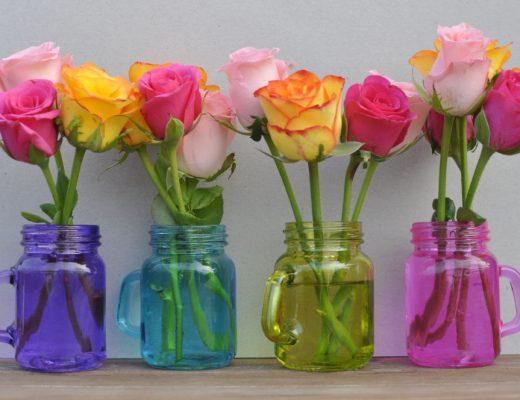 Pretty Flowers in mini mason jars