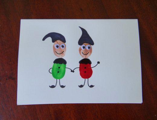 Homemade Christmas Cards - Fingerprint Christmas Cards - Elves