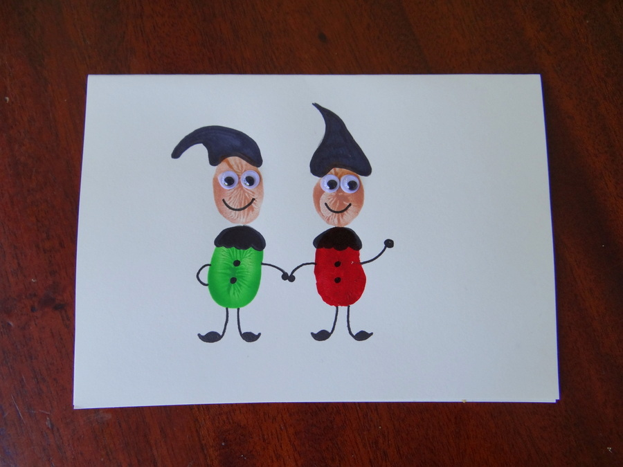Homemade Christmas Cards – Fingerprint Christmas Cards – Elves – Be ...