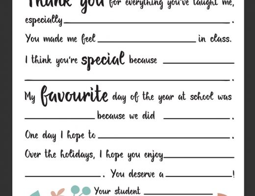 Dear Teacher Letter Printable