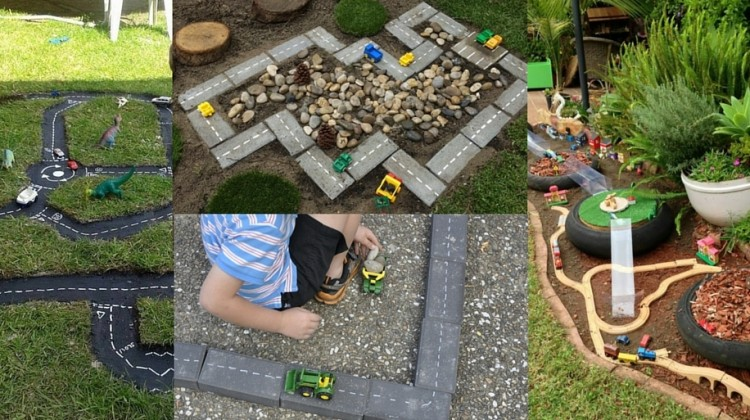 Five DIY Outdoor Tracks for Transport Play
