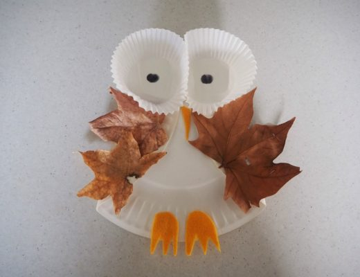 paper plate leafy owl craft