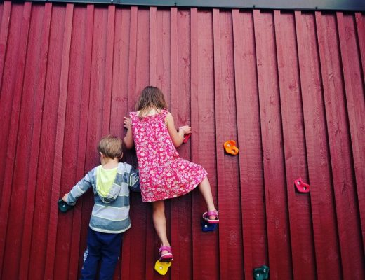 backyard idea - turn a wall into a fun climbing activity