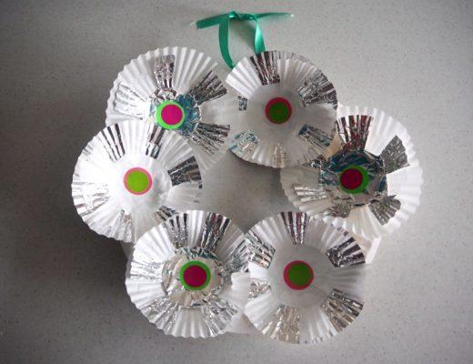 cupcake case wreath