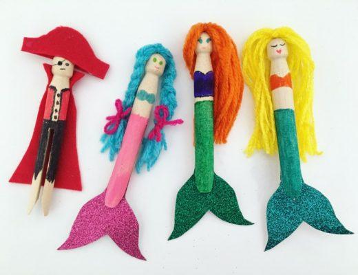 Mermaid and Pirate Peg Dolls
