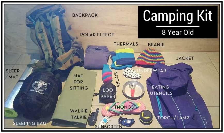 Hiking and trail blazing for families on a budget - 8 years old camping kit