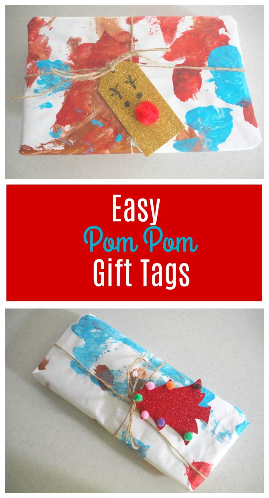 easy pom pom Gift tags