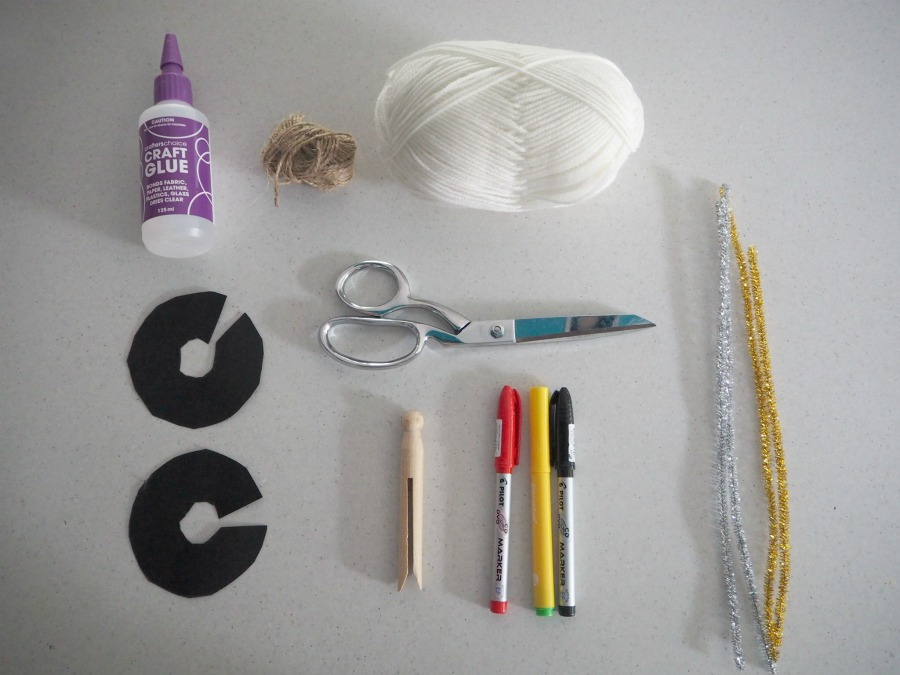 materials for Pom Pom Peg Angel Decoration