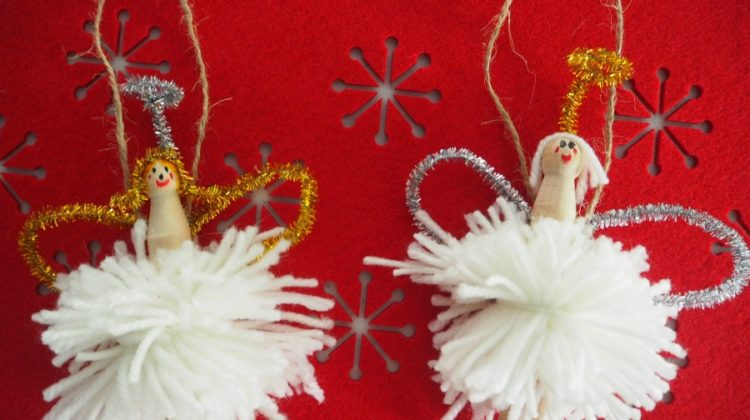 Pom Pom Peg Angel Decoration