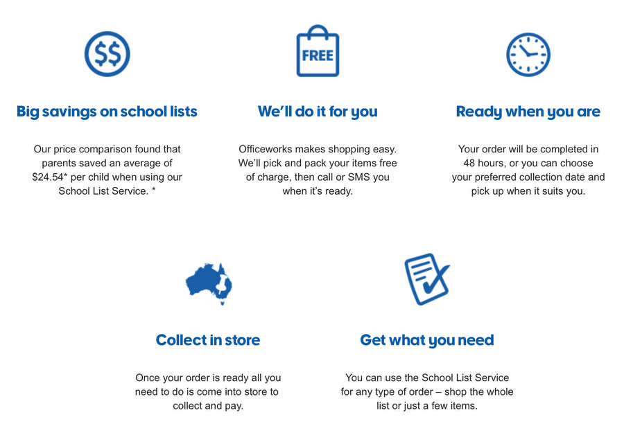 Officeworks School List Service