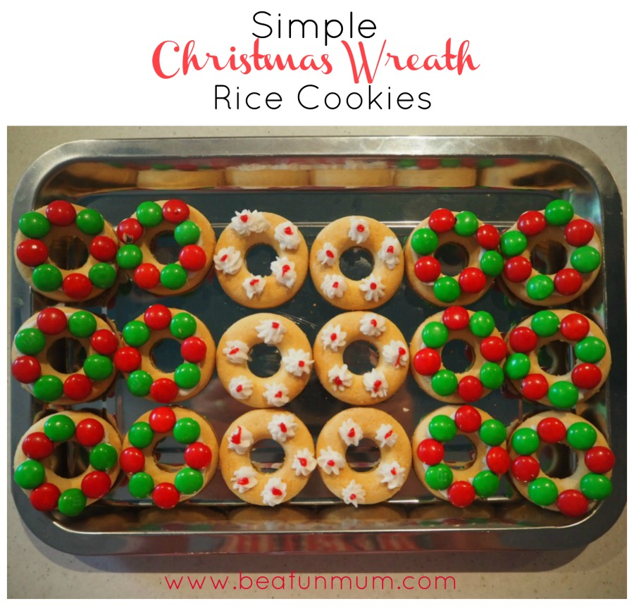 Simple Christmas Wreath Rice Cookies