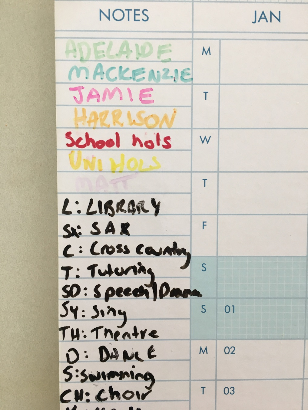Organising multiple school schedules