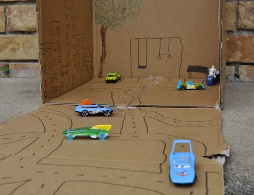 Turn a box into roads for toy cars