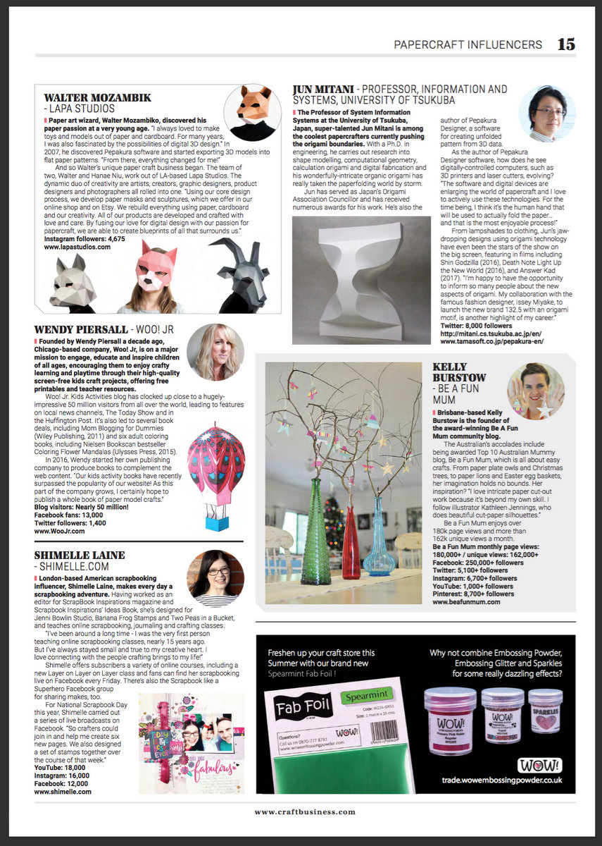 Craft Business Magazine August 2018 Kelly Burstow - Be A Fun Mum