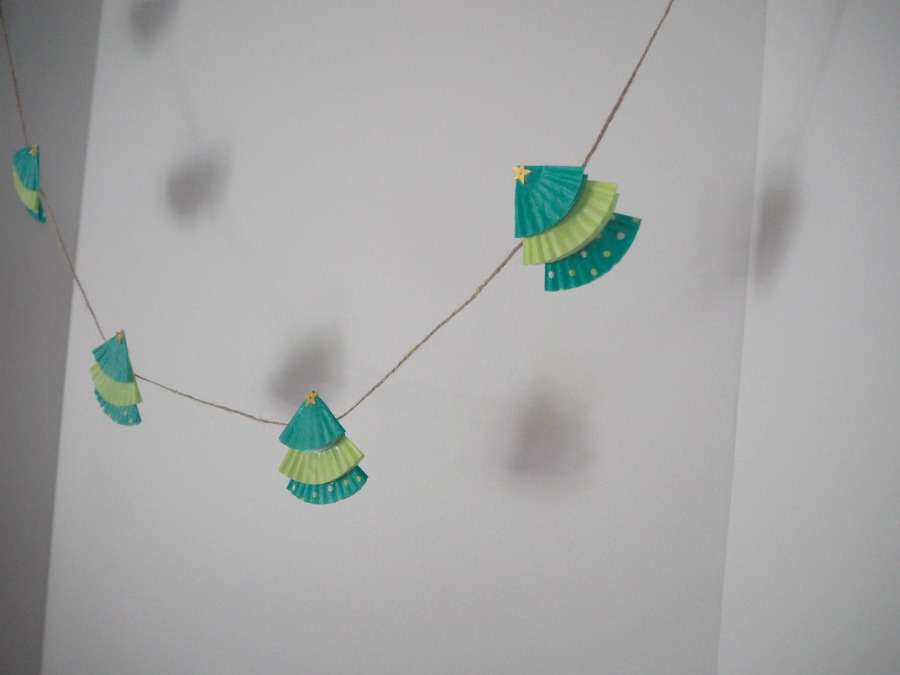 Cupcake Liner Christmas Tree Garland