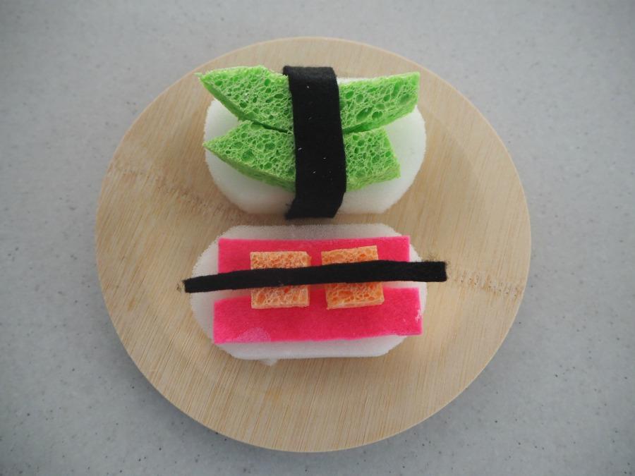 felt and sponge sushi rolls