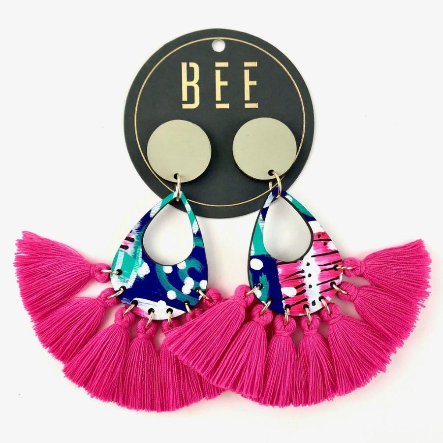 statement earrings pink