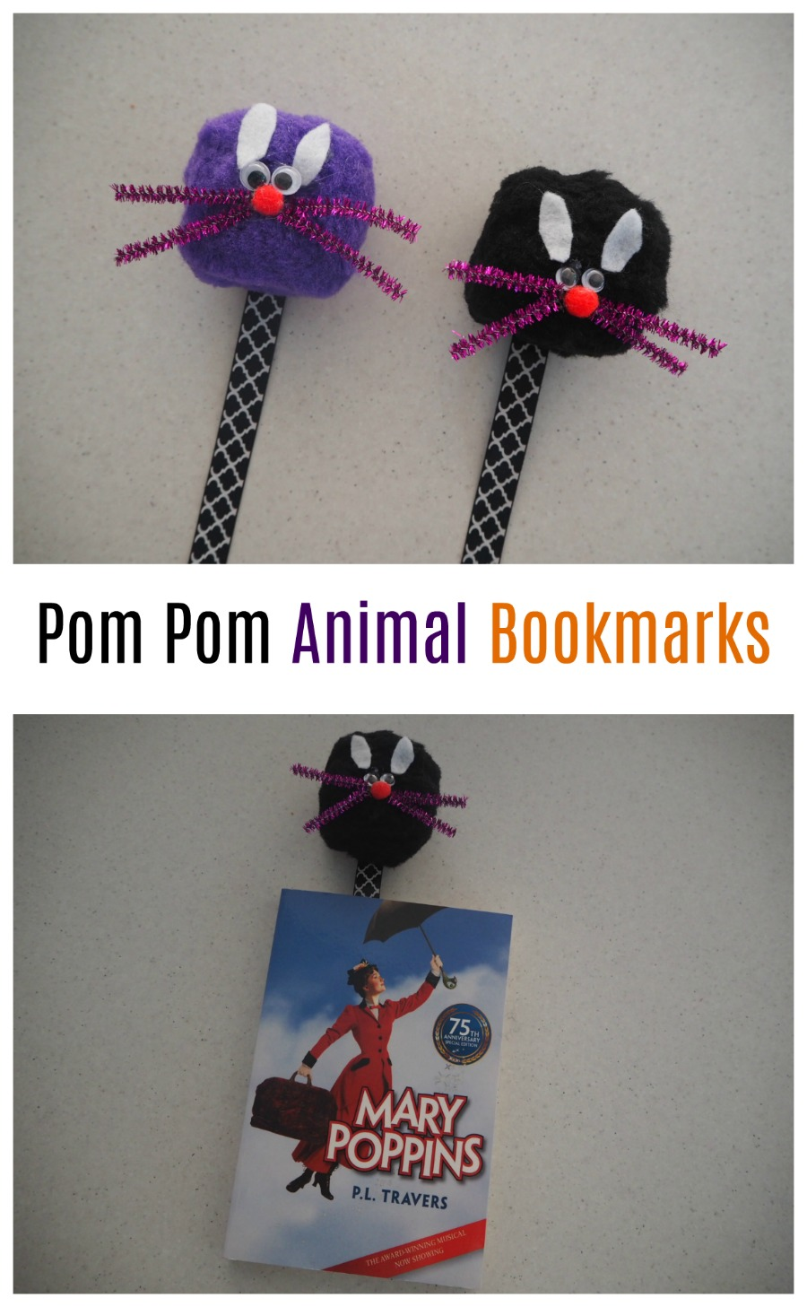 pom pom animal bookmarks