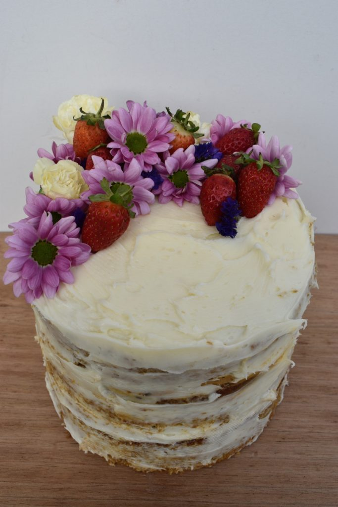 flowers and strawberry cake