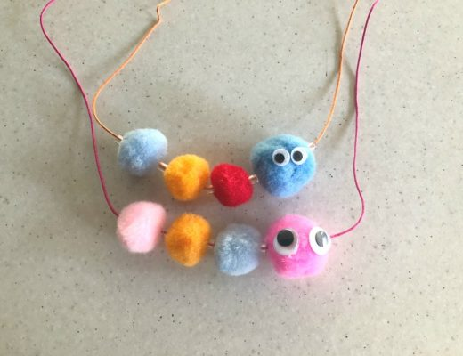 Caterpillar necklaces using pom poms