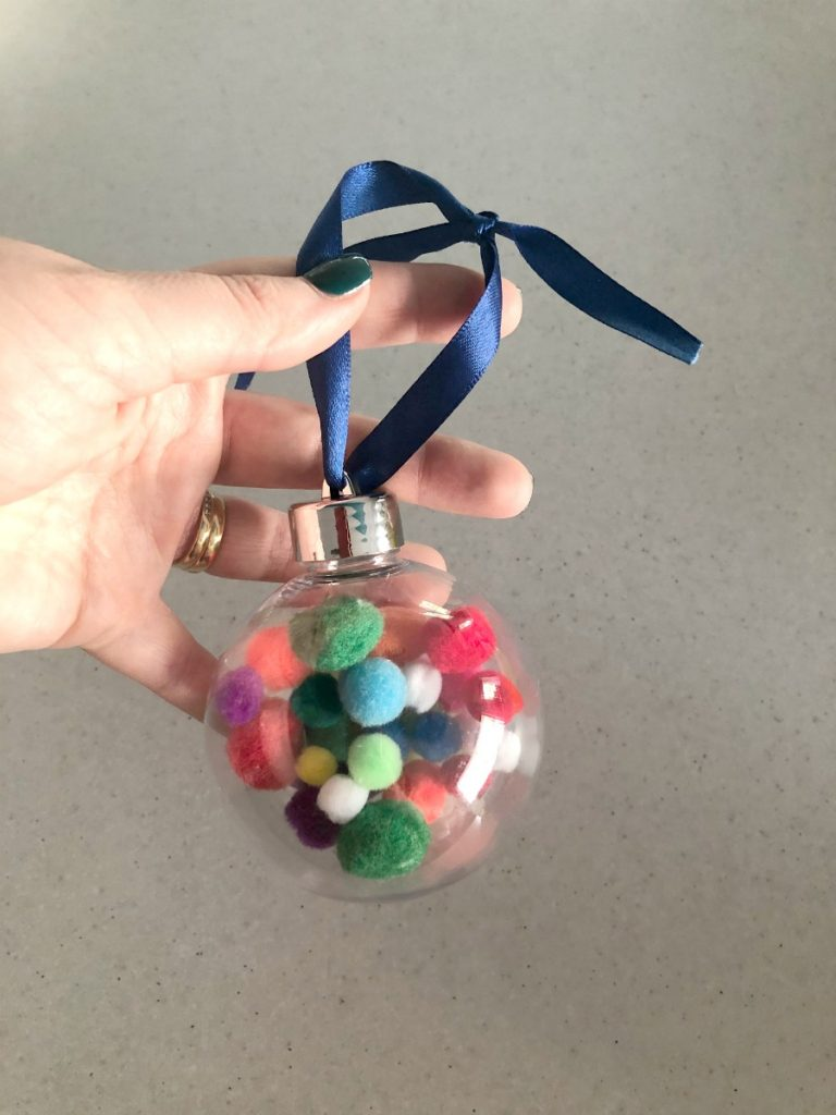 ribbon tie on pom pom bauble
