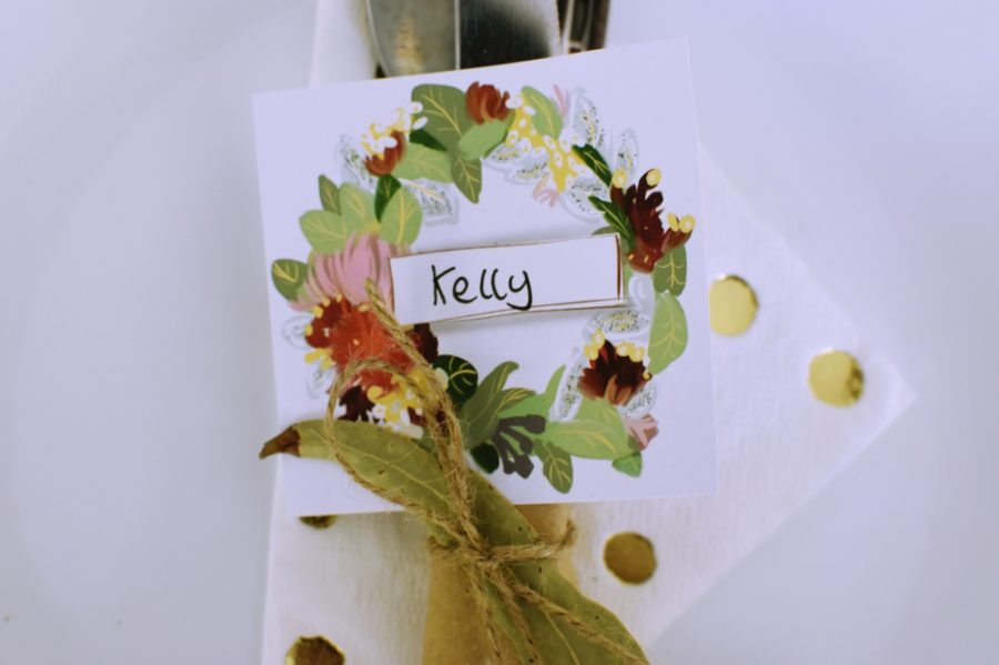 christmas wreath name place cards printable