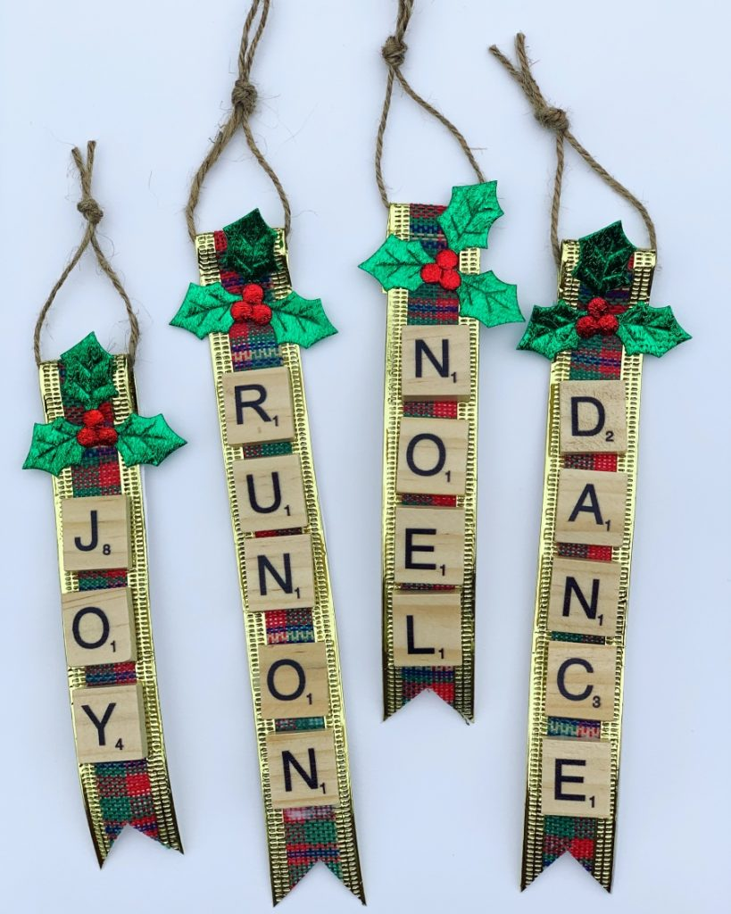Handmade Christmas Tree Decorations -- Scrabble Tiles Ribbon Christmas Tree Decoration