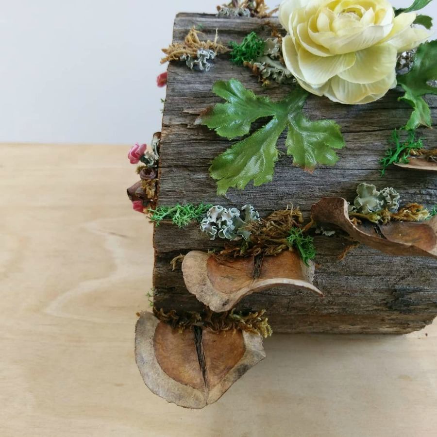 fairy house out of a log