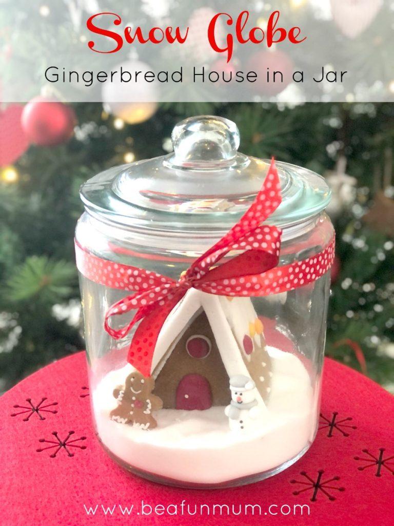 Snow globe gingerbread house in a jar