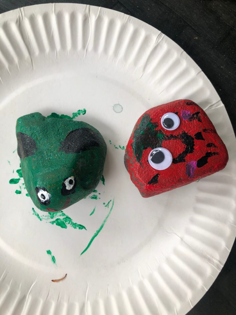 Rock painted into a frog