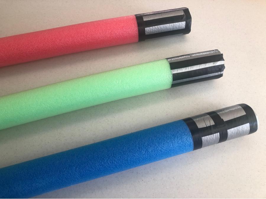 pool noodle light saber handles