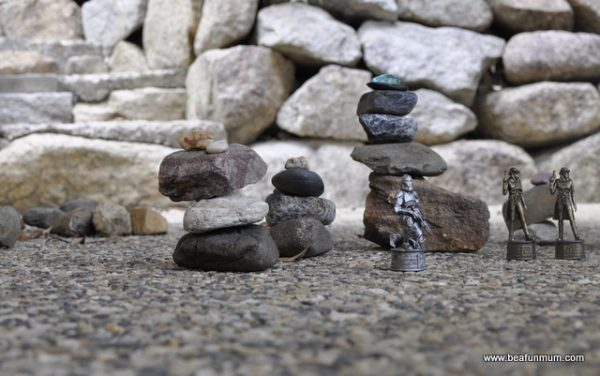 rock towers for imaginative play