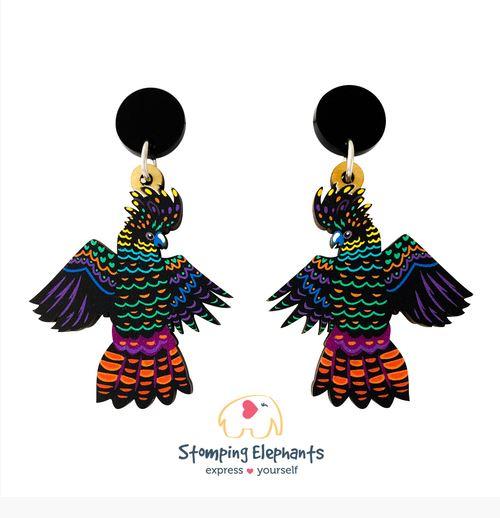 Stomping Elephants Black cockatoo earrings