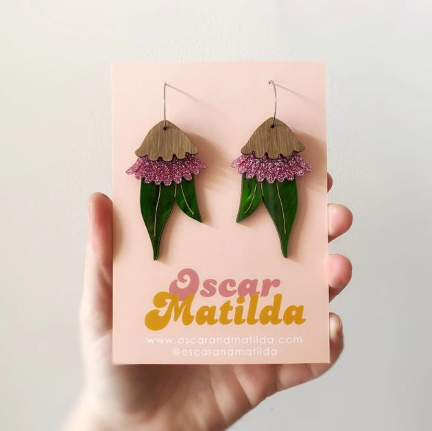 Oscar and Matilda Gumnut blossom statement earring
