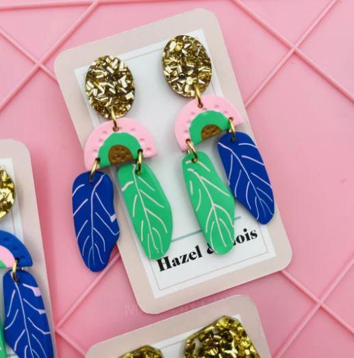 Poppy Lane Statement leaf dangle earrings