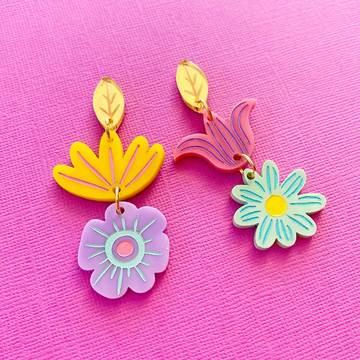 Pastel flower statement earrings