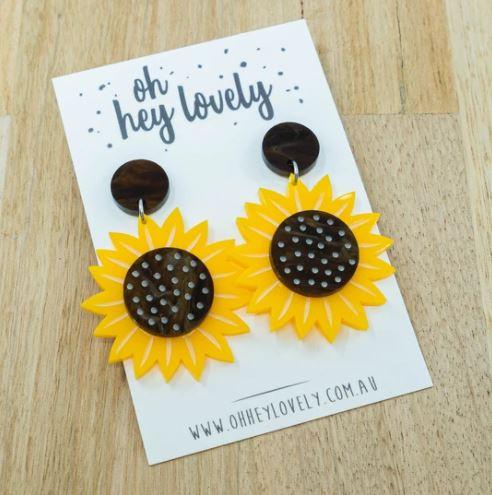 Sunflower statement earring